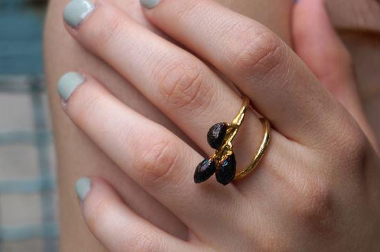 Olive Branch Ring, Adjustable Ring, Real Olive
