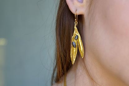 Olive Leaf Earrings, Real Olive, Gold plated, Mother nature